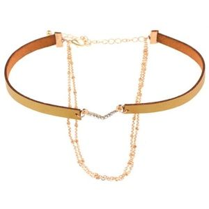 Jewelry - Layered Gold Chain Chevron Camel Leather Choker